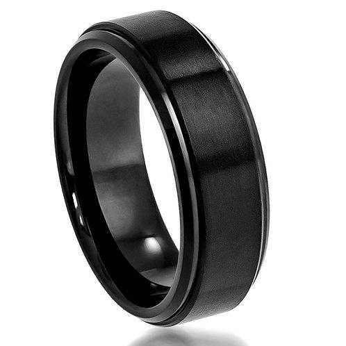 Cobalt Ring Black Enamel Plated Brushed Center 8mm