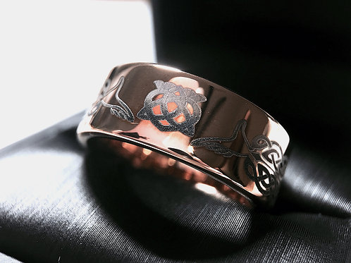 Rose Gold Claddagh Ring Celtic Wedding Band Love Knot Ring Men Women Scottish Ring Men Celtic Ring Claddagh Celtic Jewelry  E