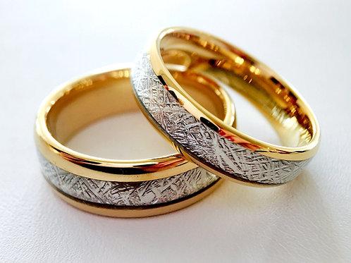 Yellow Gold Meteorite Ring, Meteorite Tungsten Ring, Wedding Band 6mm-8mm