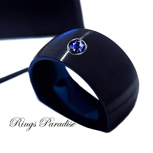 Mens Ring, Wedding Bands,His Promise Ring, Bue Sapphire Ring, Engagement Ring
