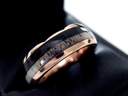 Elk Antler and Wood Inlay Rose Gold Tungsten Carbide Ring, Unique Mens and Women Wedding Bands by Rings Paradise