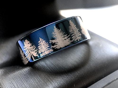 Mens Promise Ring, Wedding Bands, Women Tungsten Ring, Tungsten Carbide Ring, Blue Tungsten Ring, Forest Ring, Fir Trees
