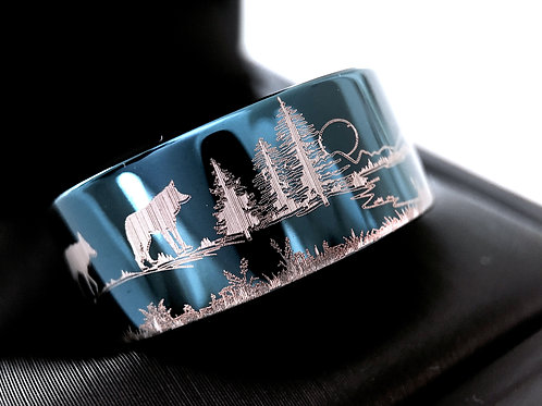 Hedgehog, Hare, Fox and Wolf in Forest Pattern Engraved Tungsten Wedding Bands, Blue Tungsten Ring, Wolf Ring, Wedding Band