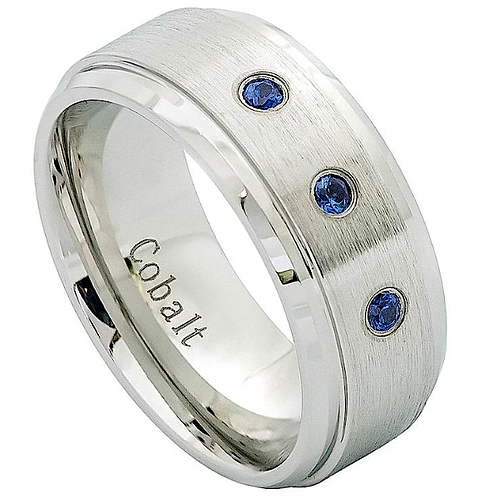 Cobalt Ring with Blue Sapphire Stones 9mm