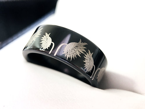 Sunflowers Pattern Engraved Black Tungsten Ring, Wedding Ring, Promise Ring
