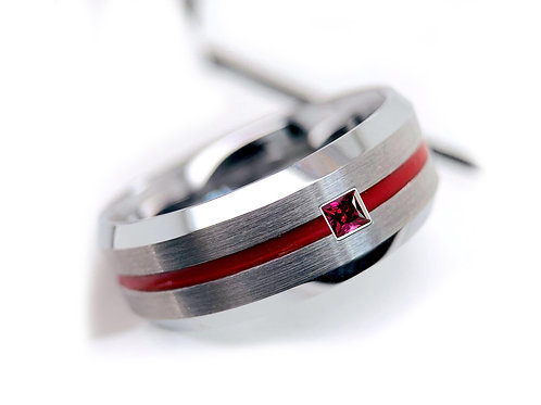 Square Ruby Stone Mens Wedding Band Mens Tungsten Ring, Red Groove, Brushed
