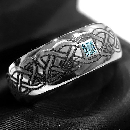 Celtic Jewelry, Mens Wedding Bands, Celtic Rings for Men and Women, Tungsten Ring, Engagement Ring, Aquamarine Stone Ring