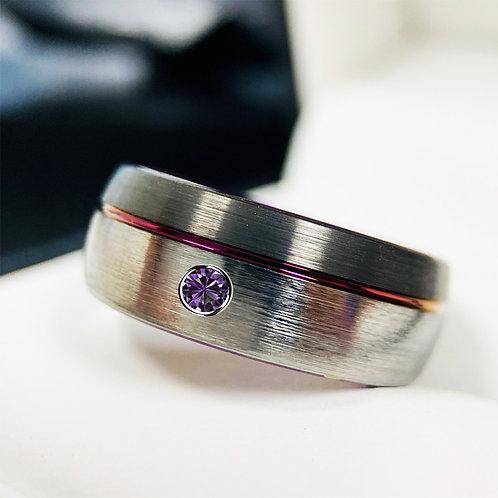 Mens Tungsten Ring, Gun Metal Purple Ring, Round Amethyst Stone, Mens Engagement Ring, Mens Wedding Bands Women Tungsten Ring