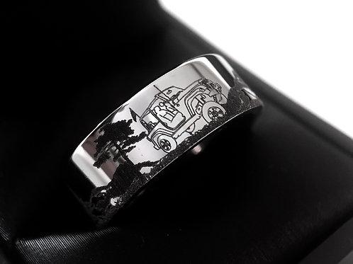 Men's Wedding Band, Jeep Wrangler Pattern Engraved Mens Tungsten Ring, Custom Designed Wedding Bands, Men Engagement Ring