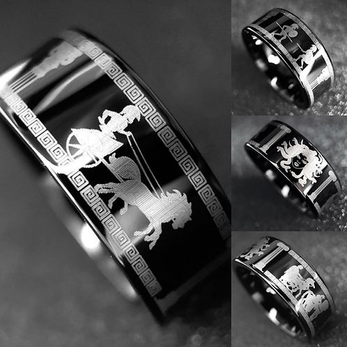 Ancient Greek Spartan Warriors, Medusa Gorgon Engraved Black Tungsten Ring