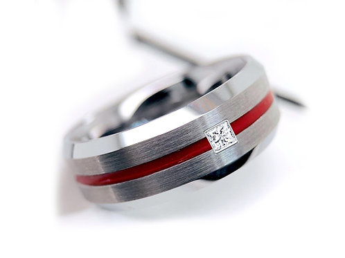 Square Diamond Stone Mens Wedding Band Mens Tungsten Ring, Red Groove Ring