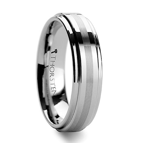 Raised Center Brushed Stripe Tungsten Carbide Ring