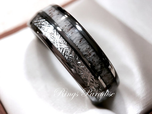 Real Antler Tungsten Wedding Band, Real Elk Antler Ring, Wedding Ring