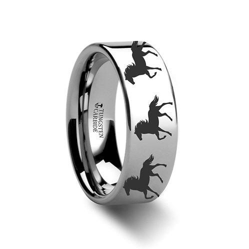 Animal Horse Print Tungsten Wedding Band