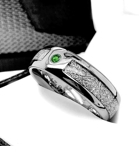 Green Emerald Meteor Ring Meteorite Ring,Meteorite Band,Diamond Meteorite,Tungsten Meteorite Ring,Meteorite Tungsten Ring Gibeon Meteorite