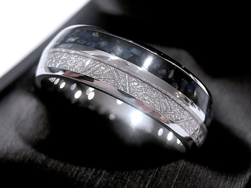 Meteorite and Lapis Inlay Tungsten Wedding Band, Wedding Ring