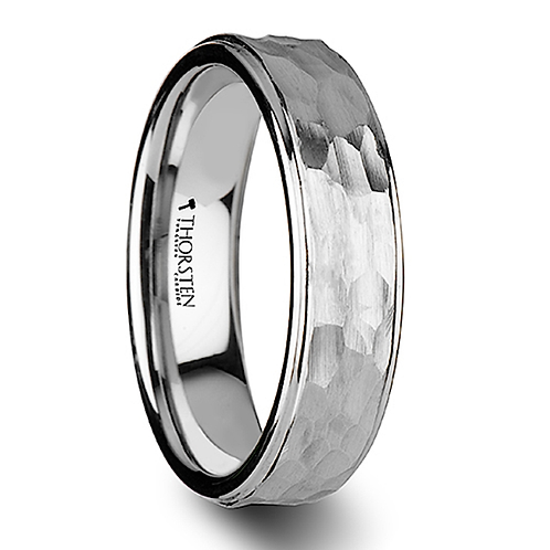 Hammered Finish White Tungsten Ring - 6mm-8mm