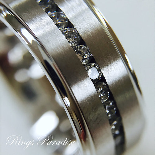 Titanium Ring, CZ stone setting, Titanium Wedding Bands Mens and Women Rings