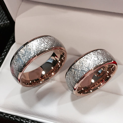 Matching Rings Set, Meteorite Ring, Rose Gold Tungsten Carbide Ring 4mm,6mm,8mm