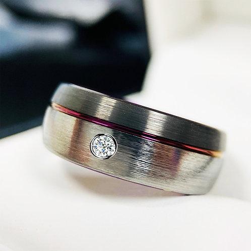 Mens Tungsten Ring, Gun Metal Purple  White Diamond Stone Ring, Engagement Ring