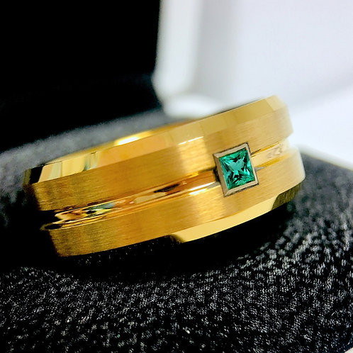 Green Enerald Stone Wedding Bands, Mens Ring, Yellow Gold Wedding Bands, Tungsten Ring, Mens Ring, mens Tungsten Ring, Band