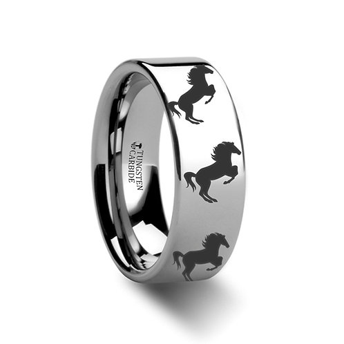 Animal Horse Hind Legs Print Tungsten Band