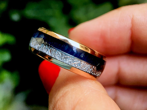Rose Gold Tungsten Ring Blue Agate & Meteorite Inlay Wedding Band for Men Women