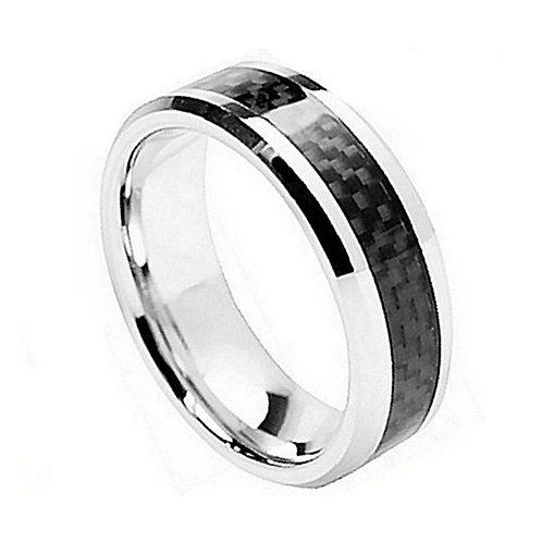 Cobalt Ring Beveled Edge & Black Carbon Fiber 8mm
