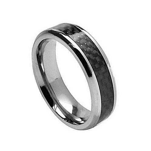 Titanium Ring with Black Carbon Fiber Inlay  7mm