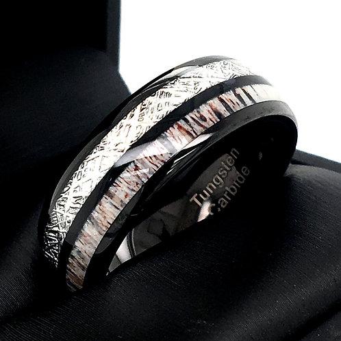 Mens Tungsten Ring, Meteorite Ring, Antler Ring, Black Tungsten Wedding Ring 8mm
