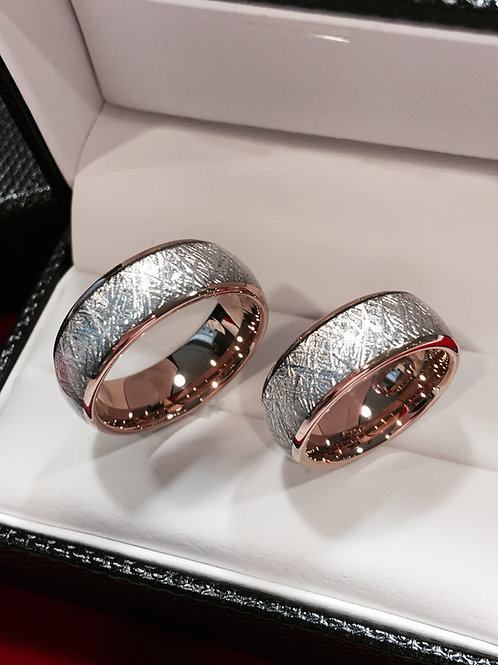 Matching Wedding Bands, Rose Gold Meteorite Rings, Tungsten Wedding Bands
