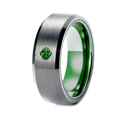 Tungsten Ring With Green Ceramic Tsavorite Stone Setting Mens