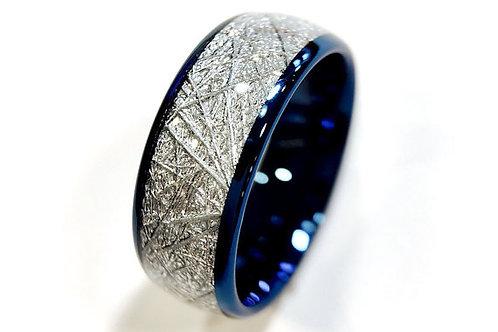 Blue Meteorite Inlay Tungsten Wedding Band, Blue Tungsten Ring
