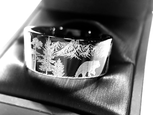 Elks in Forest Wedding Bands, Antler Ring, Mens and Women Ring, Black Tungsten Rings, Hunter Rings , His and Her Promise Ring