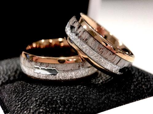 Matching Rings Set, Wedding Bands, Antler Ring, Meteorite Ring, Wedding Bands , by Rings Paradise