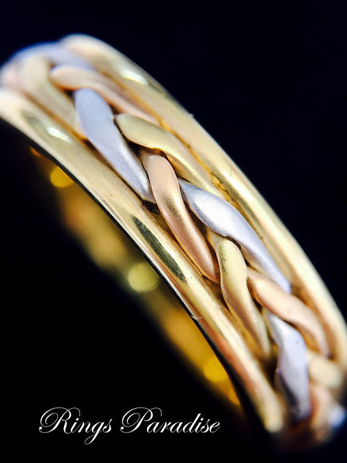 Unique Celtic Ring, 14k Gold Celtic Wedding Band