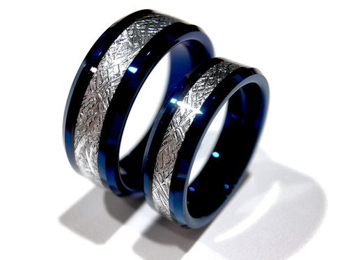 Meteorite Ring Mens Wedding Tungsten Carbide Blue Bands