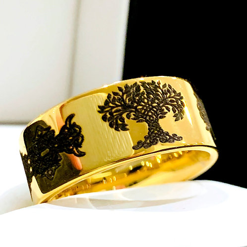 Tree of Life  Pattern Engraved Yellow Gold Celtic Tungsten Ring, Celtic Knot