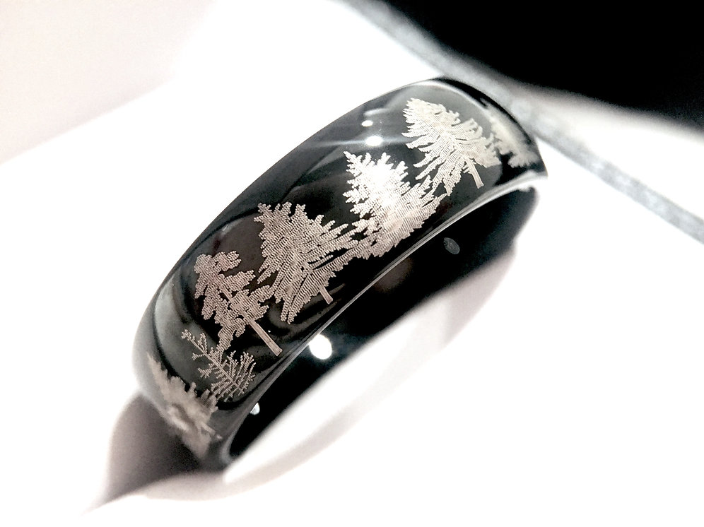 Wedding Band Men.Mens Wedding Band Engagement Ring Fir Forest Ring Mens Ring Wedding Band