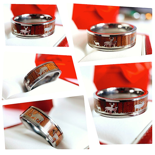 Elks in Forest Wood Inlay Tungsten Carbide Ring, Mens Ring, Wedding Band