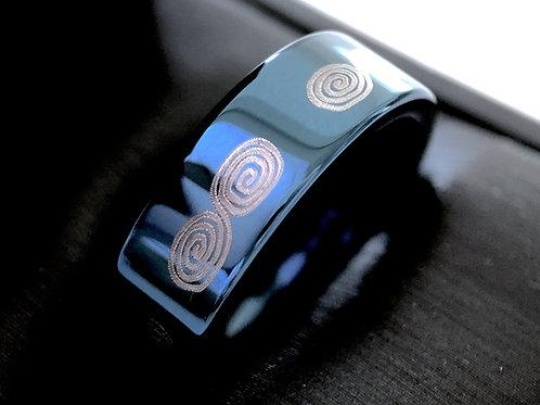 Blue Tungsten Ring, Eternity Ring, Infinity Knot Ring, Mens Ring, Women Ring