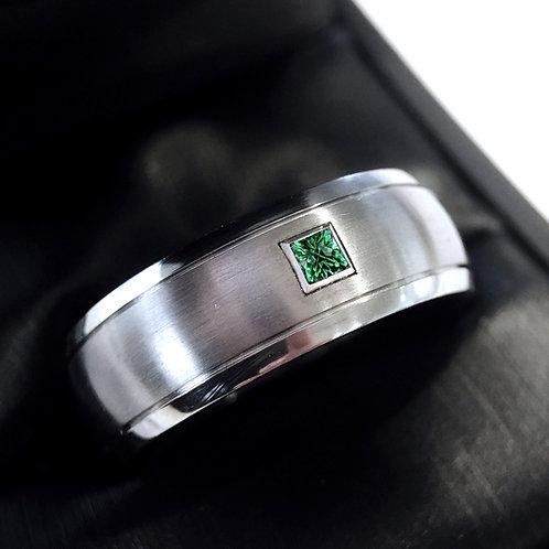 Square Emerald Stone Titanium Ring, Mens Ring, Engagement Ring Wedding Band 8mm