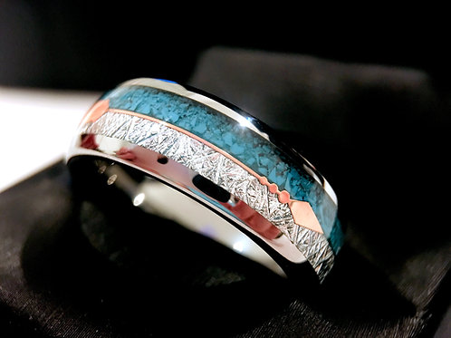 Turquoise and Meteorite Inlay Tungsten Carbide Ring with Rose Gold Arrow - 8mm