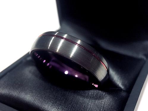 Matching Rings Set, Wedding Bands Gun Metal Purple Tungsten Carbide Wedding Ring by Rings Paradise