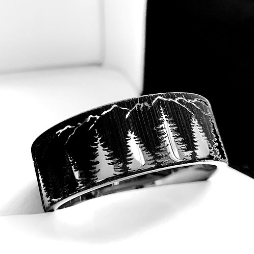 Fir Trees and Mountains Pattern Engraved Tungsten Carbide Ring, His and Hers