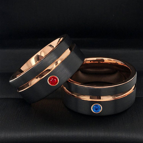 Rose Gold Tungsten Carbide Ring, Mens and Women Wedding Ring
