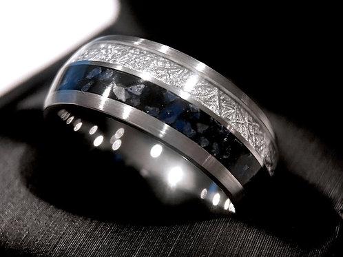 Meteorite ring, Mens Meteorite Ring, Mens Wedding Bands, Lapis Ring, Wedding Ring, Women Wedding Ring