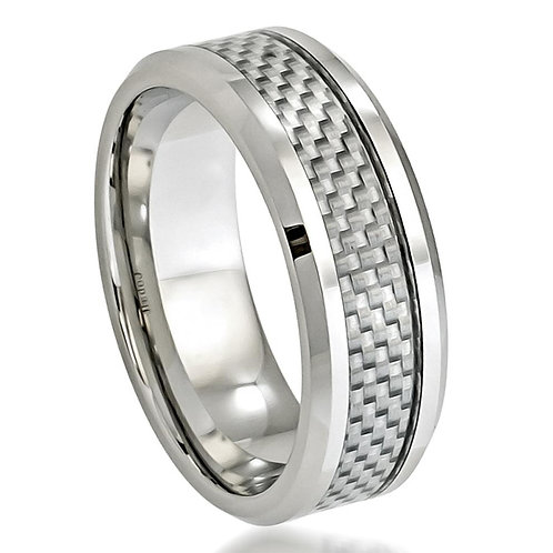 Cobalt  Wedding Band, Grey Carbon Fiber Inlay  8mm