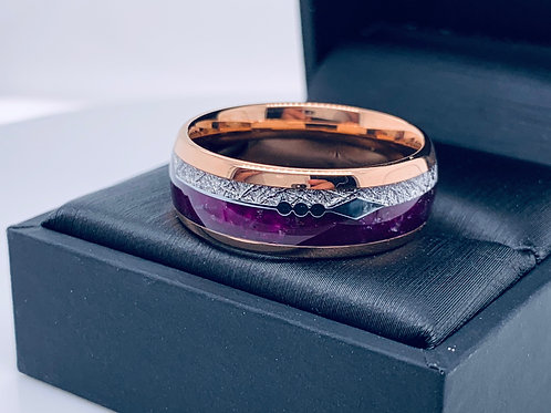 Rose Gold Tungsten Ring, Purple Agate & Meteorite Ring, Mens Women Wedding Bands