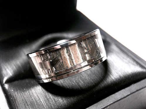 Mens Engagement Ring, Antler and Wood Wedding Band, Anniversary Ring 9mm